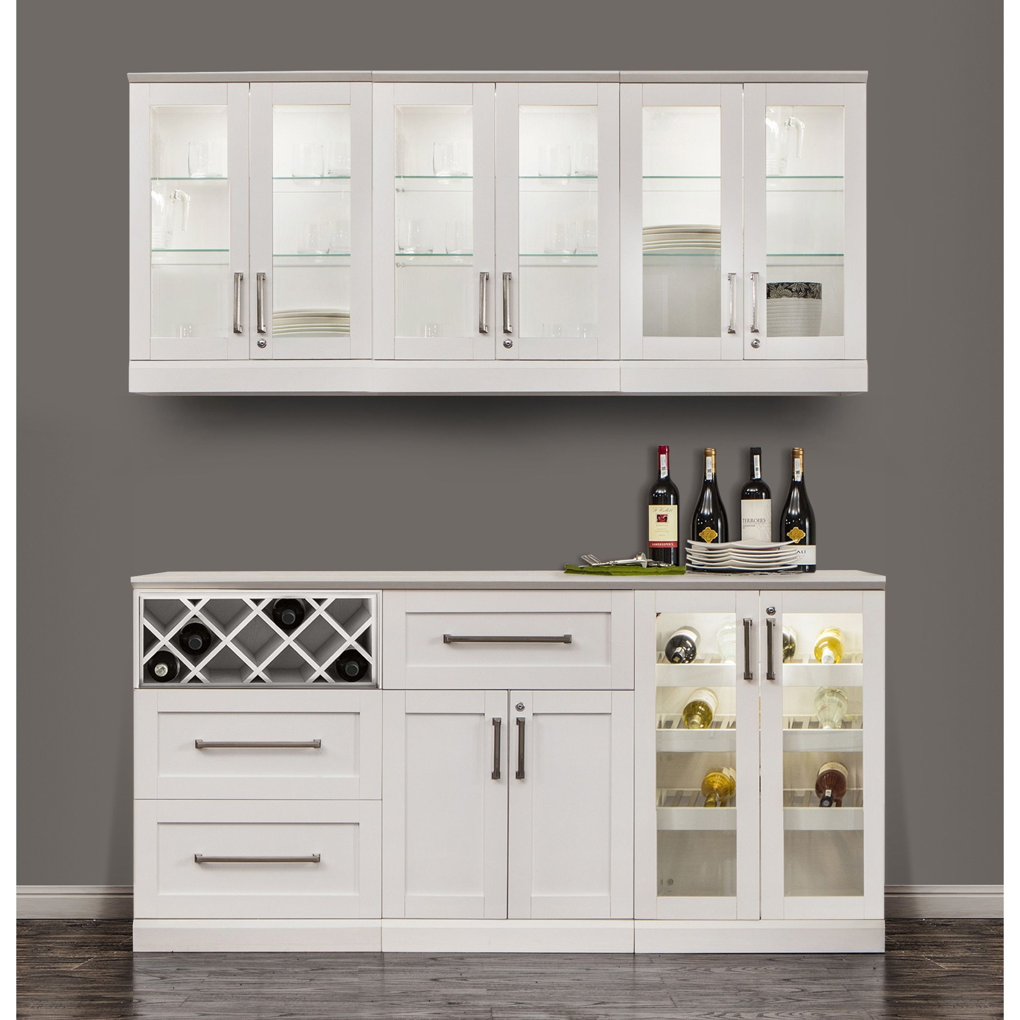 NewAge Products Home Bar White Shaker Style 7-piece Cabinet System ...
