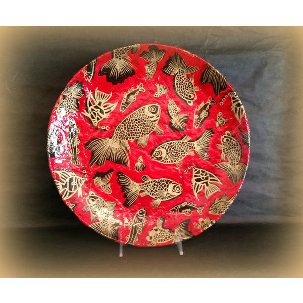 Decorative Plate in Red Gold and Black with Koi (u20ac41) via Polyvore featuring home home decor red plates handmade plates handmade home decor ...  sc 1 st  Pinterest & Decorative Plate in Red Gold and Black with Koi (u20ac41) via Polyvore ...