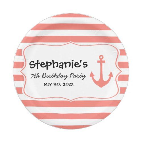 Coral Stripes and Nautical Anchor Birthday Party Paper Plate  sc 1 st  Pinterest & Coral Stripes and Nautical Anchor Birthday Party Paper Plate | Party ...