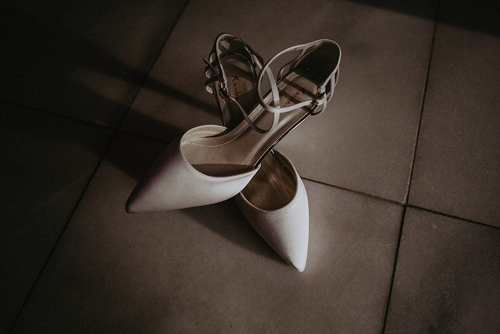 White Wedding Shoes With Ankle Strap