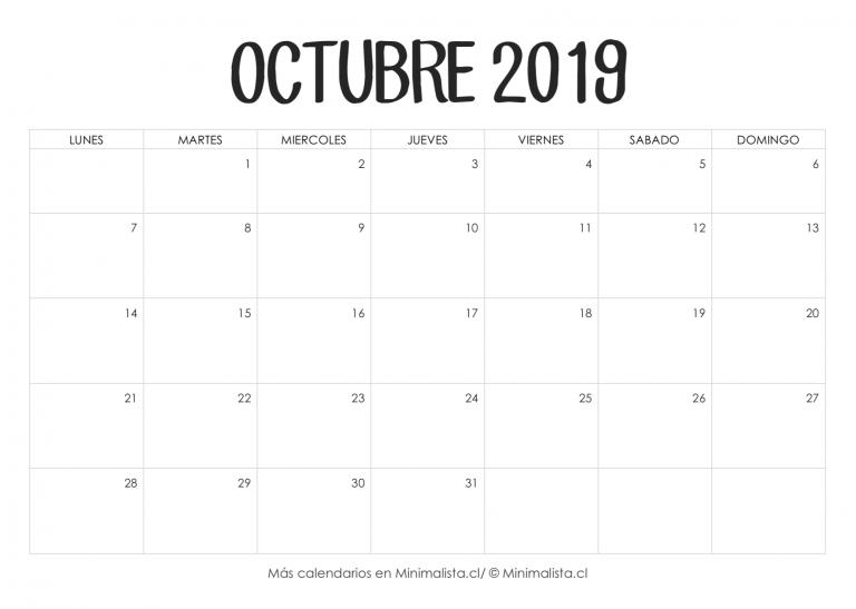 Calendario 216.Calendario Octubre 2019 Para Imprimir Apuntes Bonitos