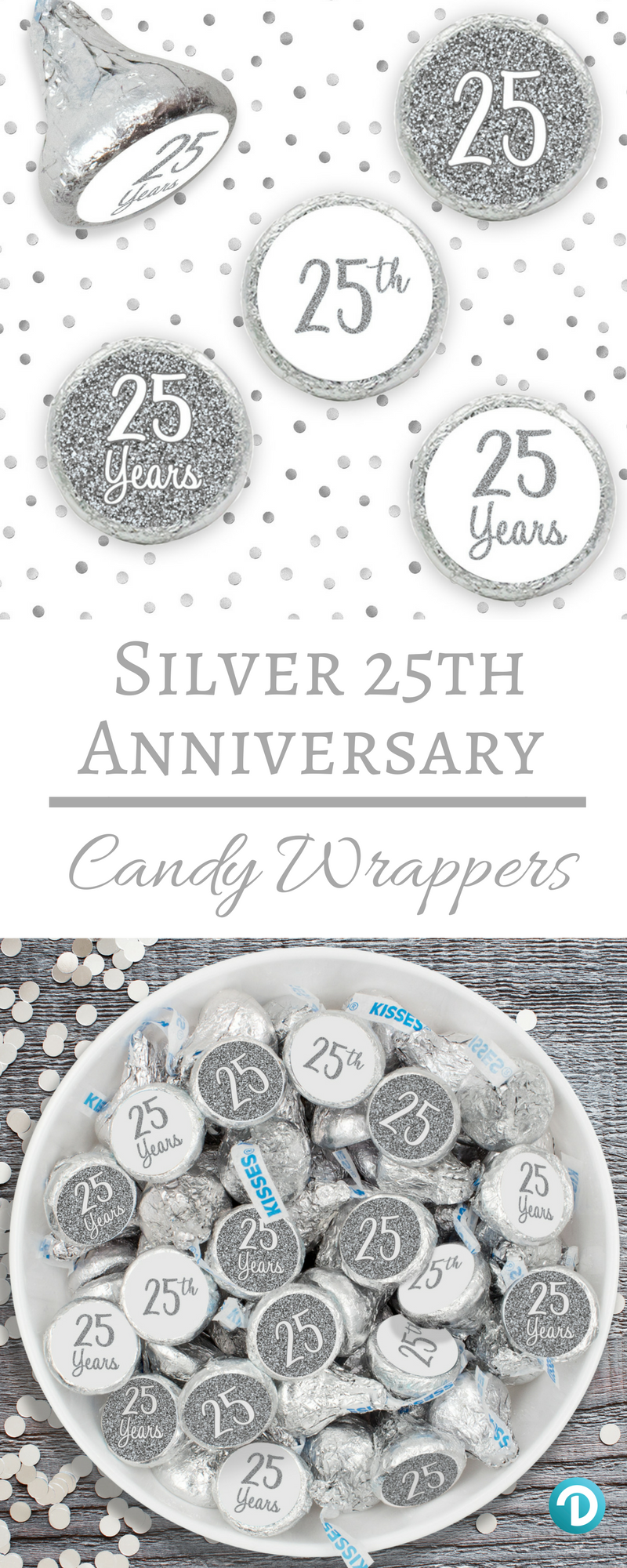 Silver 25th Anniversary Party Favor Stickers (Set of 324 ...
