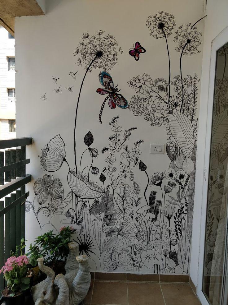 WIld flowers removable wallpaper - Garden flowers wall mural, Watercolor, Bright wallpaper, C...