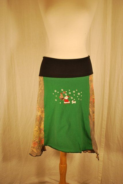 SANTA!!! Recycled tee shirt and sweater knit skirt  with yoga by oreomocha, $45.00