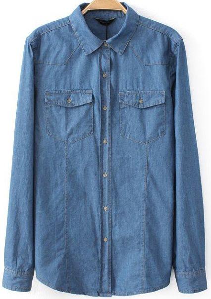 Blue Lapel Long Sleeve Pockets Denim Blouse 20.00