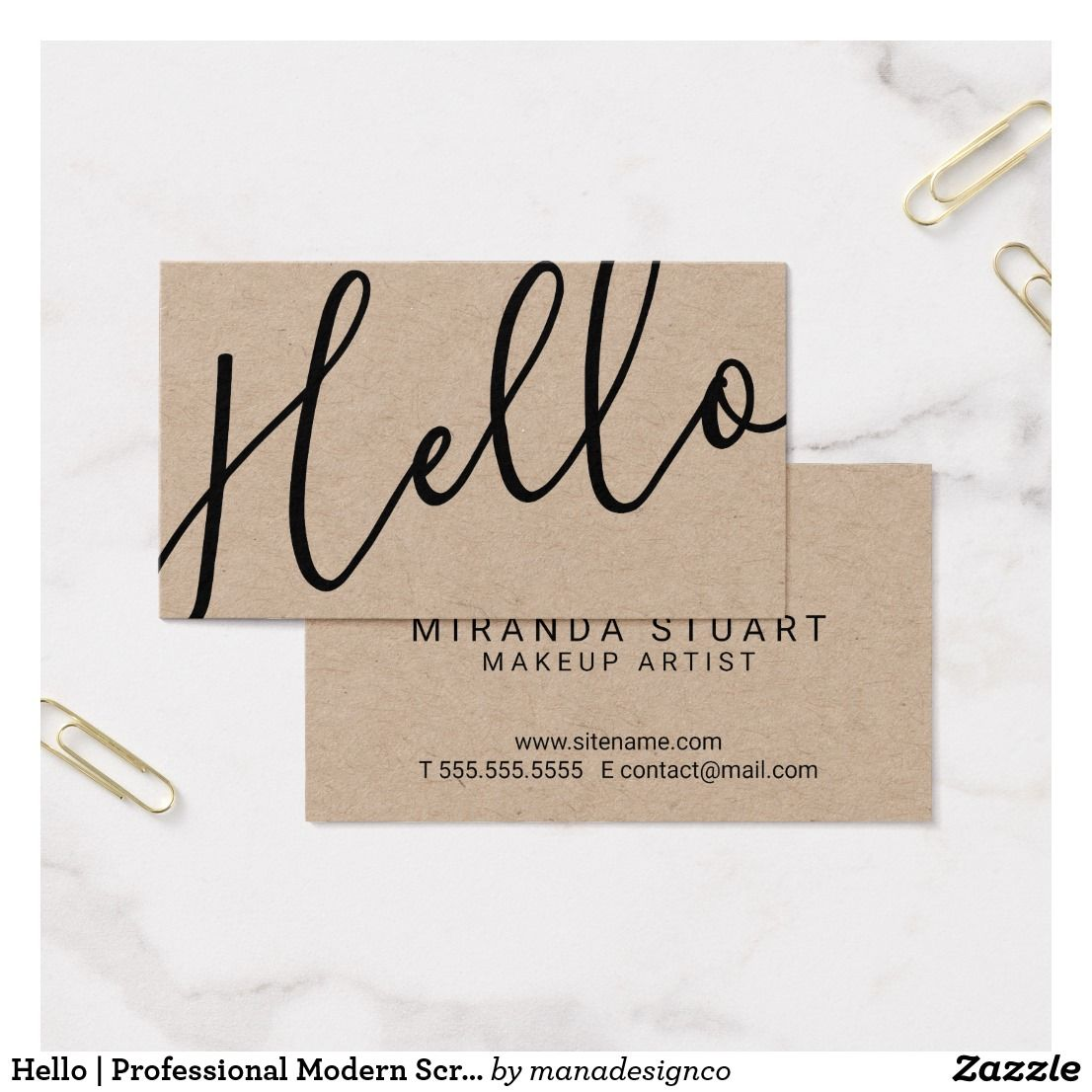 Hello professional modern script kraft paper business card hello professional modern script kraft paper business card colourmoves