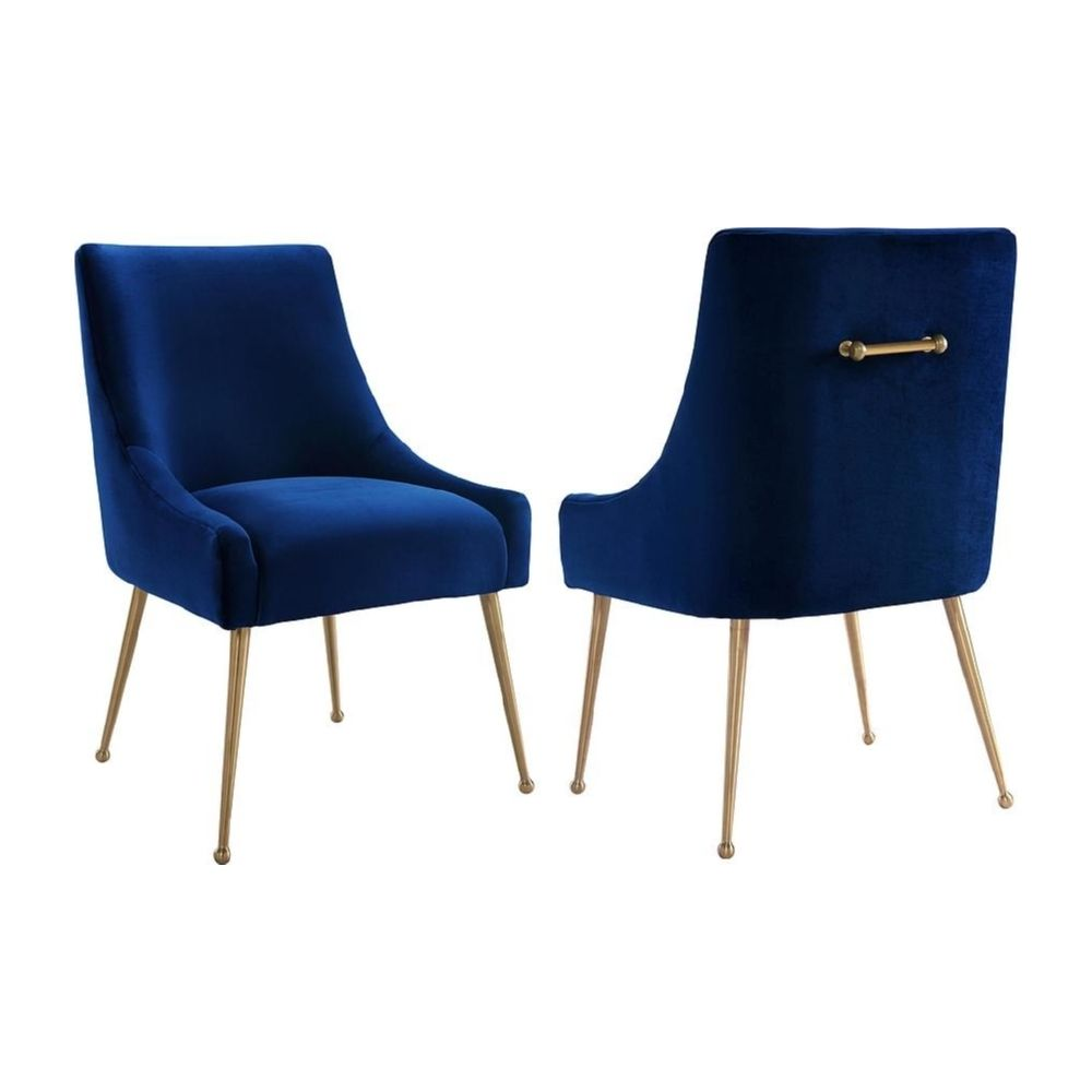 Beatrix Navy Velvet Side Dining Chair W Handle On Gold Stainless