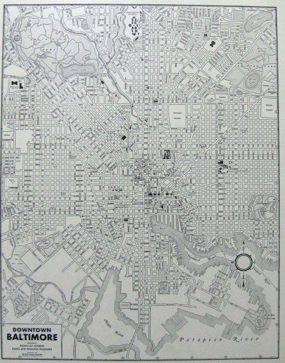 DOWNTOWN BALTIMORE VINTAGE Map from 1942 Map of Downtown Baltimore