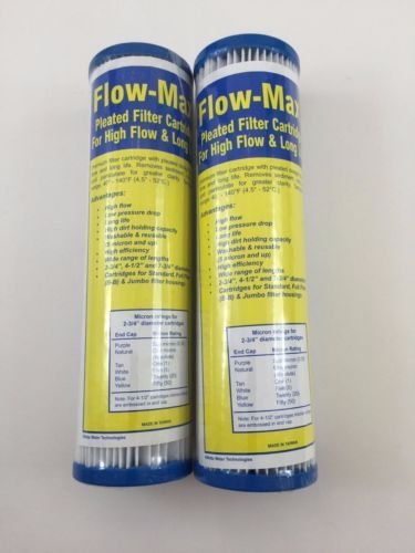 """2 Flow-Max Pleated 5 Micron Filter 9.75/"""" x 2.5/"""" Remove Cyst FM-5-975"""