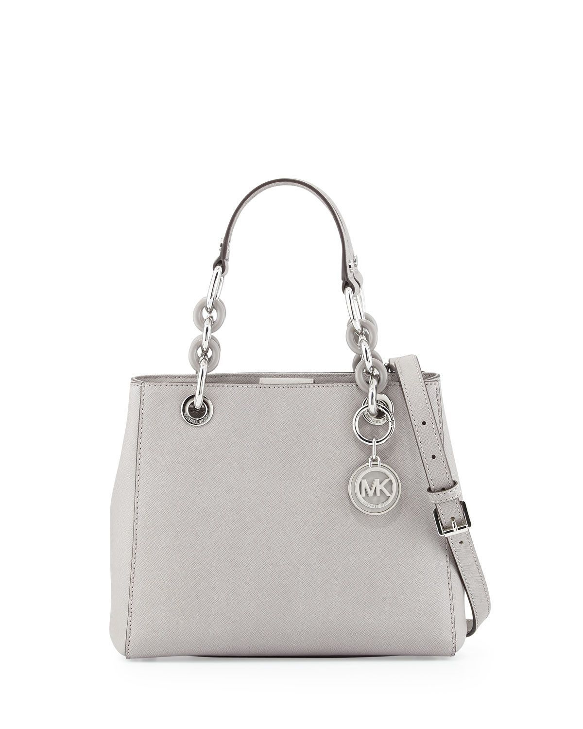24157f6ce35377 Cynthia Small Saffiano Satchel Bag, Pearl Gray. Find this Pin and more on MK  ...