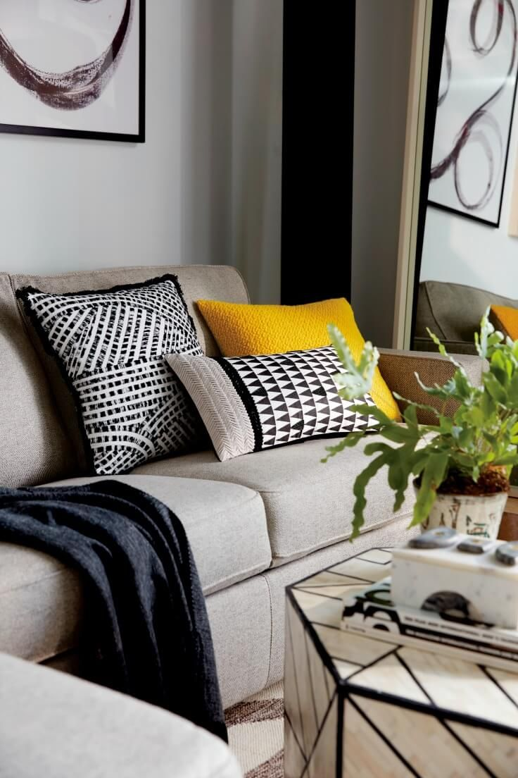 How to get plump cushions and dud versions to avoid - Black white yellow living room ideas ...