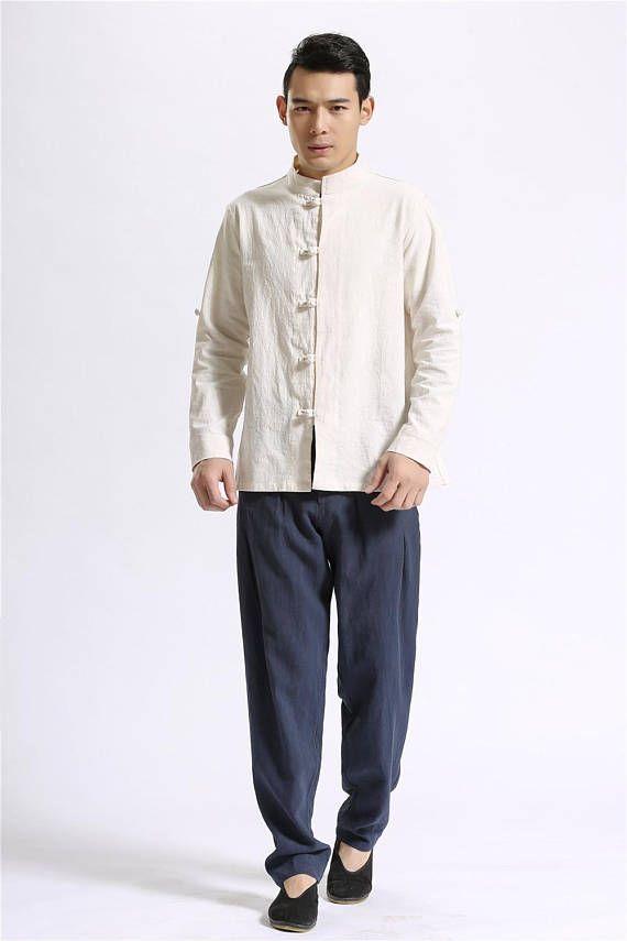 Men Autumn Cotton and Linen Casual pants – Pure Color Loose Cotton and Linen Men Kungfu Pants KBT4HebYnk
