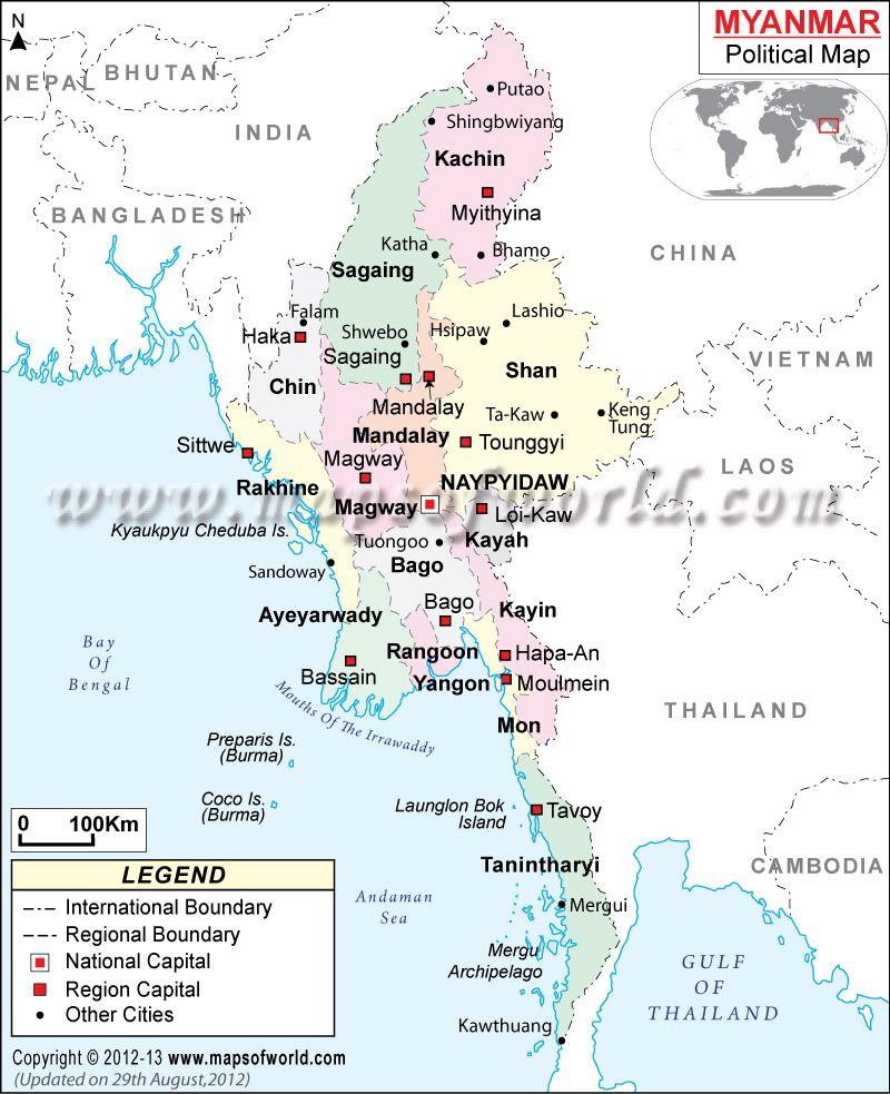 Burma Political Map.Political Map Of Myanmar Burma Myanmar Pinterest Burma