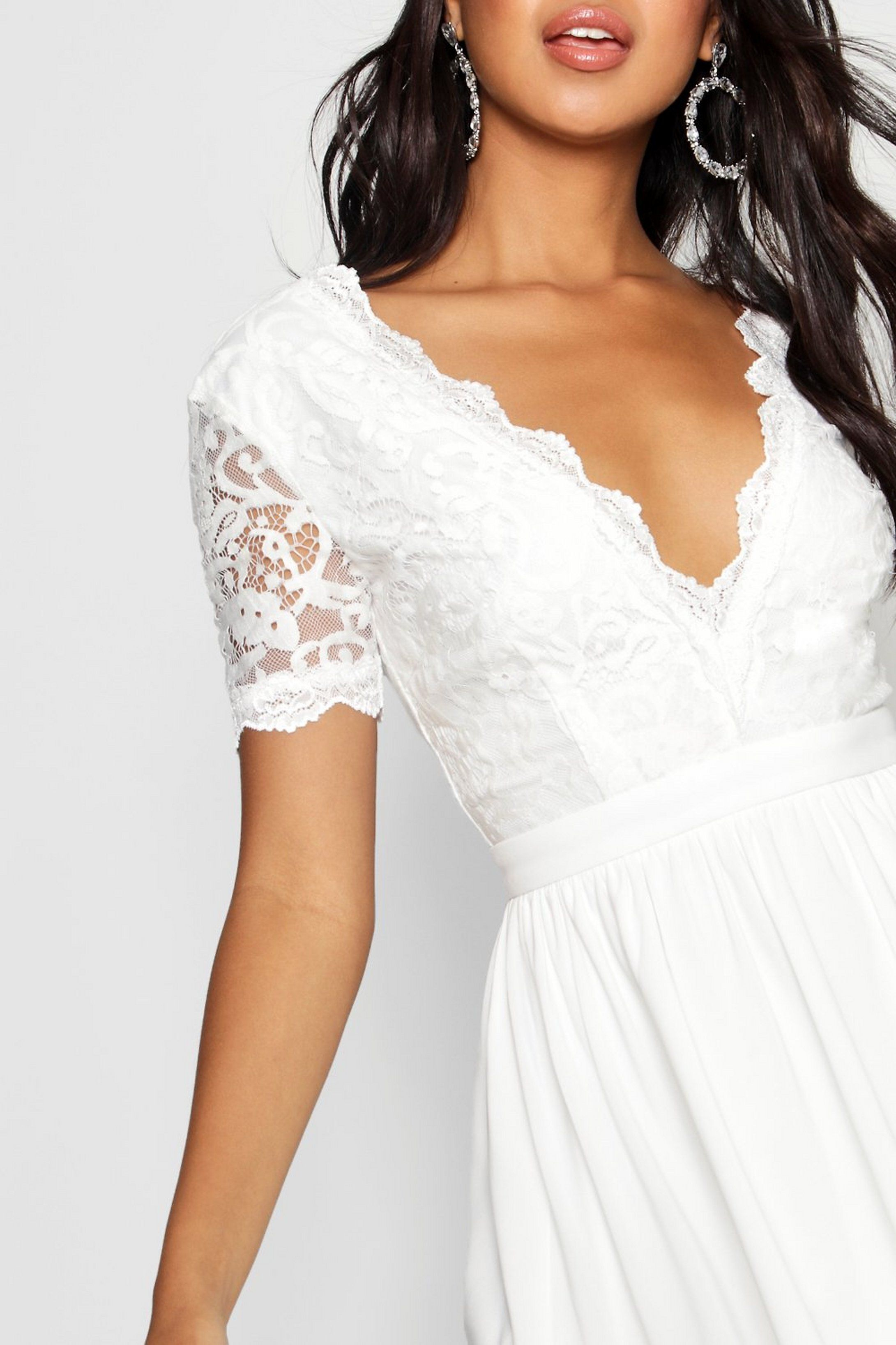 Lace Top Skater Dress Boohoo In 2020 Lace Top Skater Dress White Lace Dress Short Short Lace Dress [ 3272 x 2181 Pixel ]