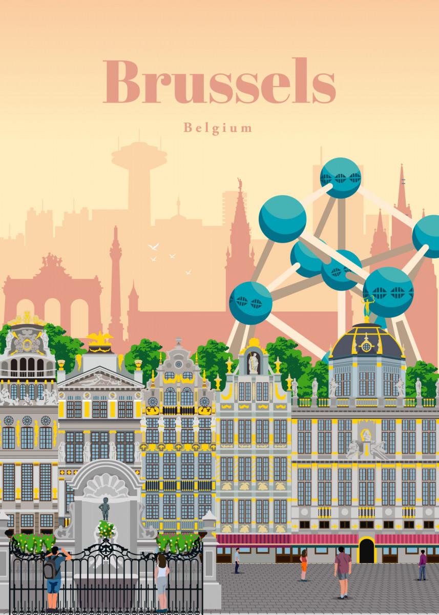 Visit Brussels Poster Print By Studio 324 Displate In 2020 Poster Prints Poster Travel Posters