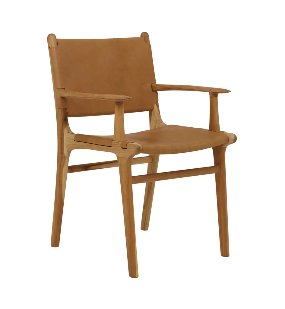 Flat Leather Dining Chair With Arms in Teak & Tan Tan in
