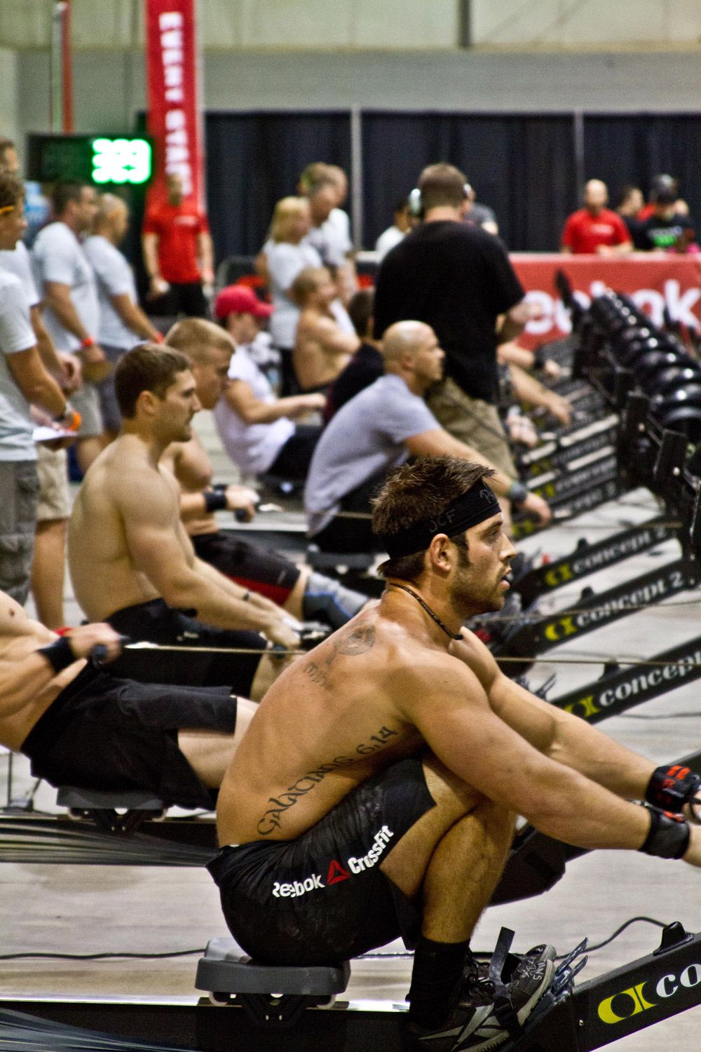 Froning breaking records with those black Concept 2 Rowers