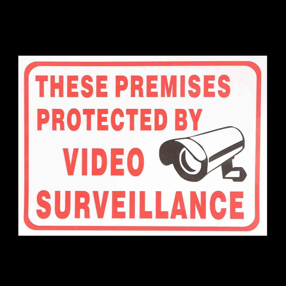 CCTV Camera Sign Sticker Self-adhensive Decal These Premises Projected By Video