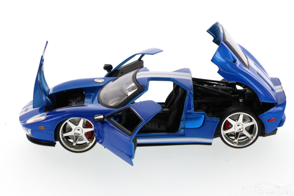 Ford Gt Blue W White Stripes Fast Furious 7 2015 Movie 1 24 By Jada Ebay Ford Gt Diecast Model Cars Ford