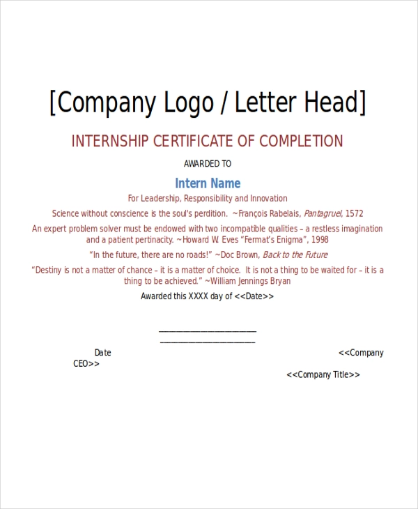 14+ Certificate Of Internship Templates