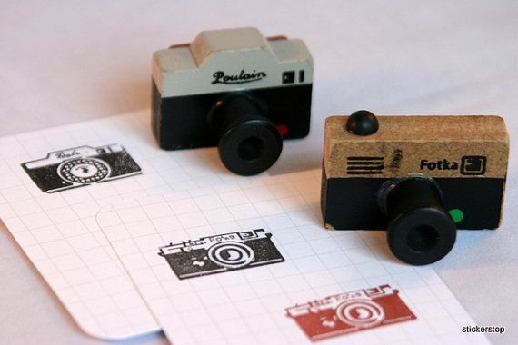 Cute rubber stamps of vintage cameras!  A set of two for $9.50!