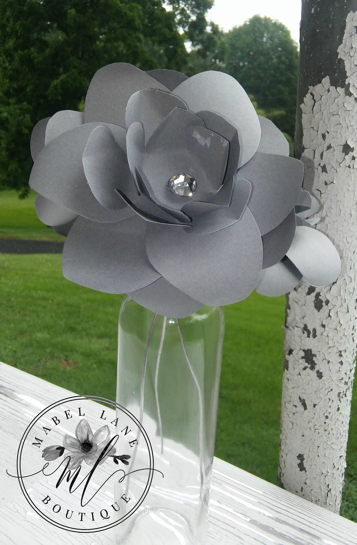 Handmade wedding decorations paper  Paper Gardenia Gray Paper Gardenia Paper Flowers Gray Paper