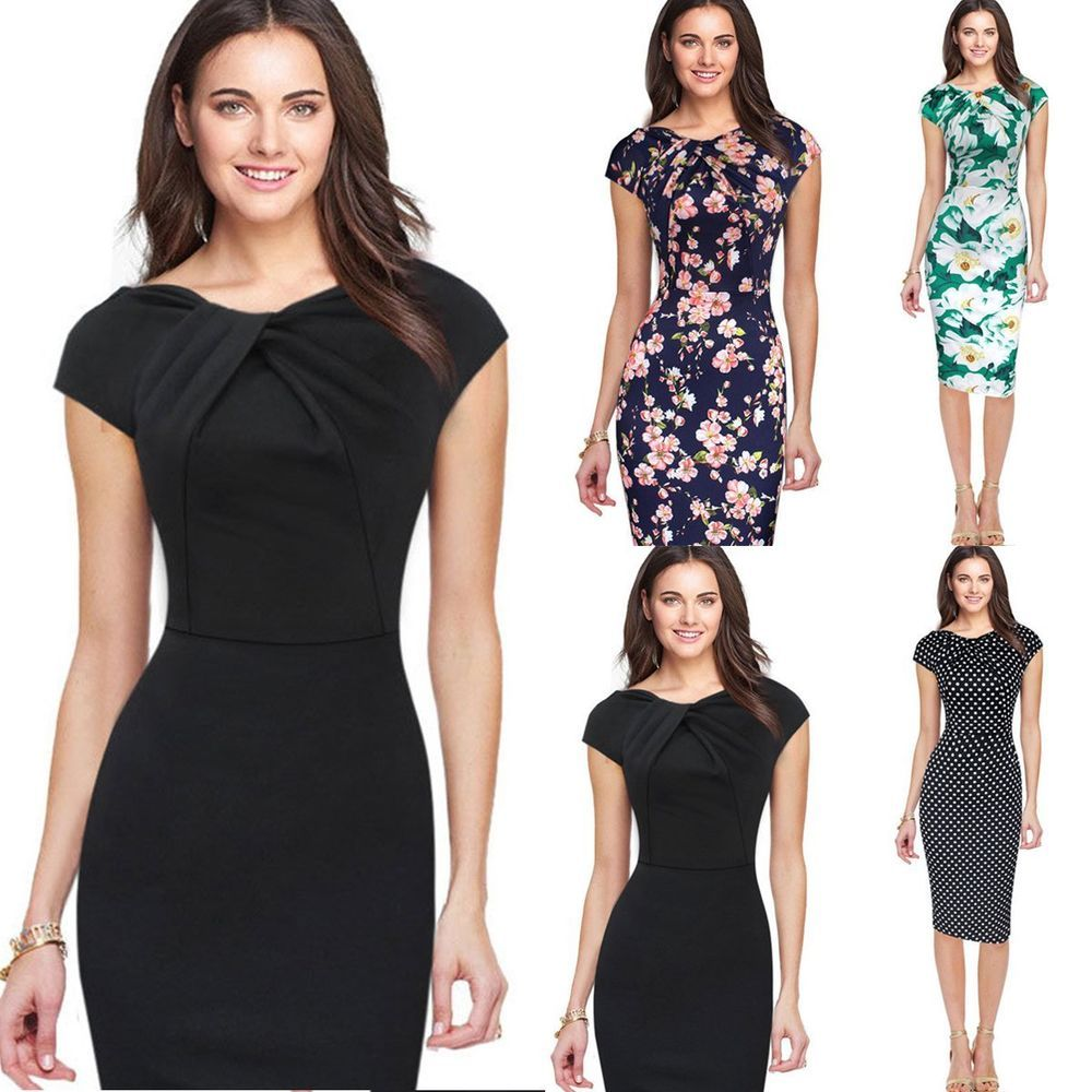 Party Dresses for Girls Women Three Quarter Sleeve Striped Work Wear Business Cocktail Pencil Dress