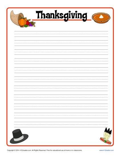 Thanksgiving Printable Lined Writing Paper  Thanksgiving Creative