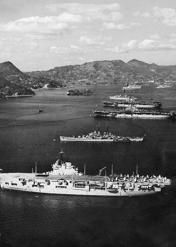 United States & British Royal Navy ships...HMS Unicorn in foreground.