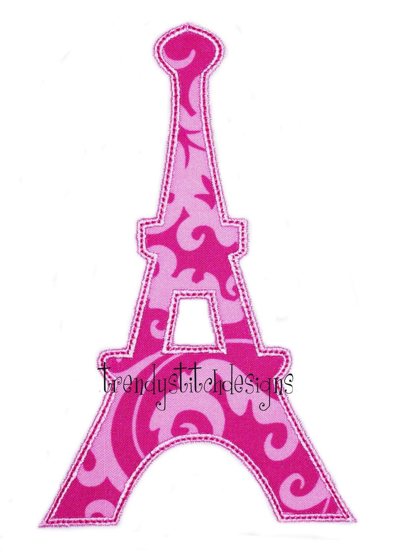 Eiffel Tower Applique Design Machine Embroidery Design Instant