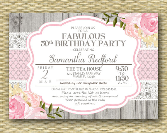 50th Birthday Invitation 50 And Fabulous Shabby Chic Rustic Lace Pink Roses Peonies Floral