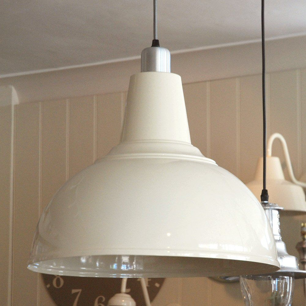 Large Cream Metal 'Kitchen' Ceiling Lamp