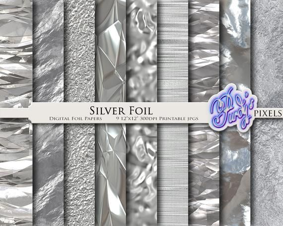 photo about Printable Foil Paper known as Electronic Silver Foil Paper Pack - 9 Seamless Metal Silver