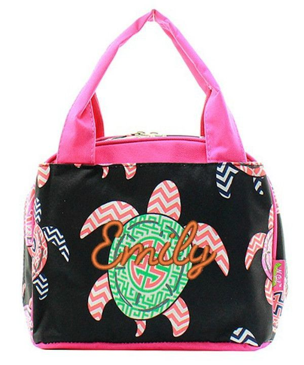 Personalized Pink & Mint Turtle Insulated Lunch Bag/Lunch Sack - Pink & Black