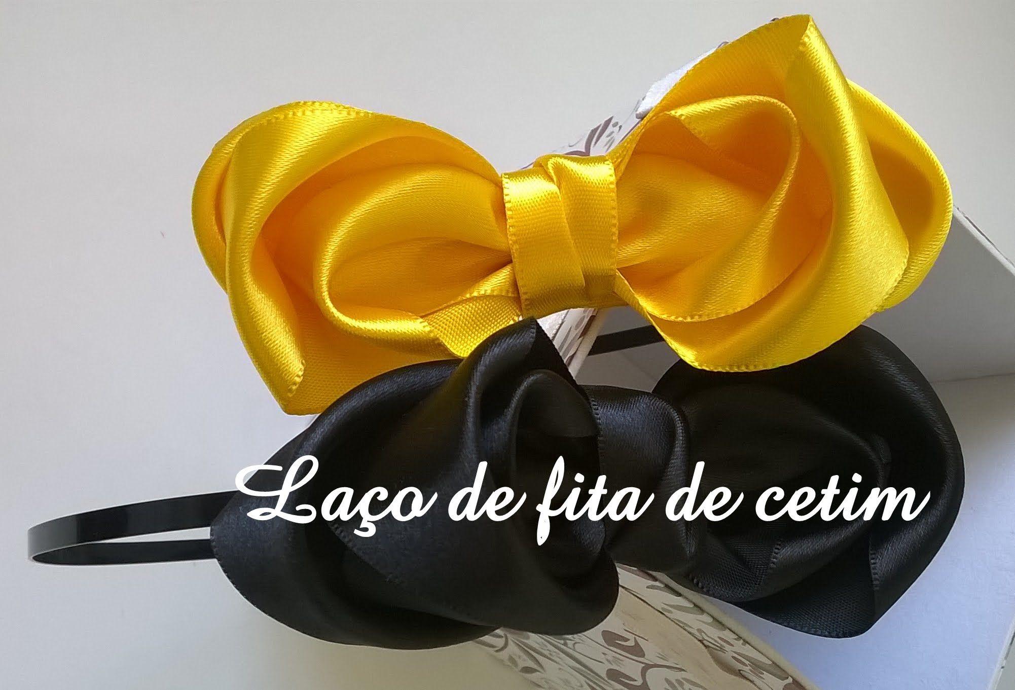 Tiara com laço de fita de cetim diy  Tiara with lace satin ribbon diy