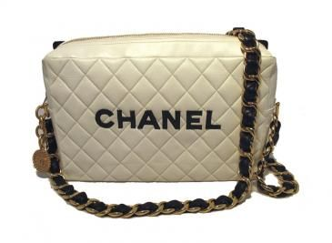 Rare Chanel Vintage Black and White Leather Runway Bag