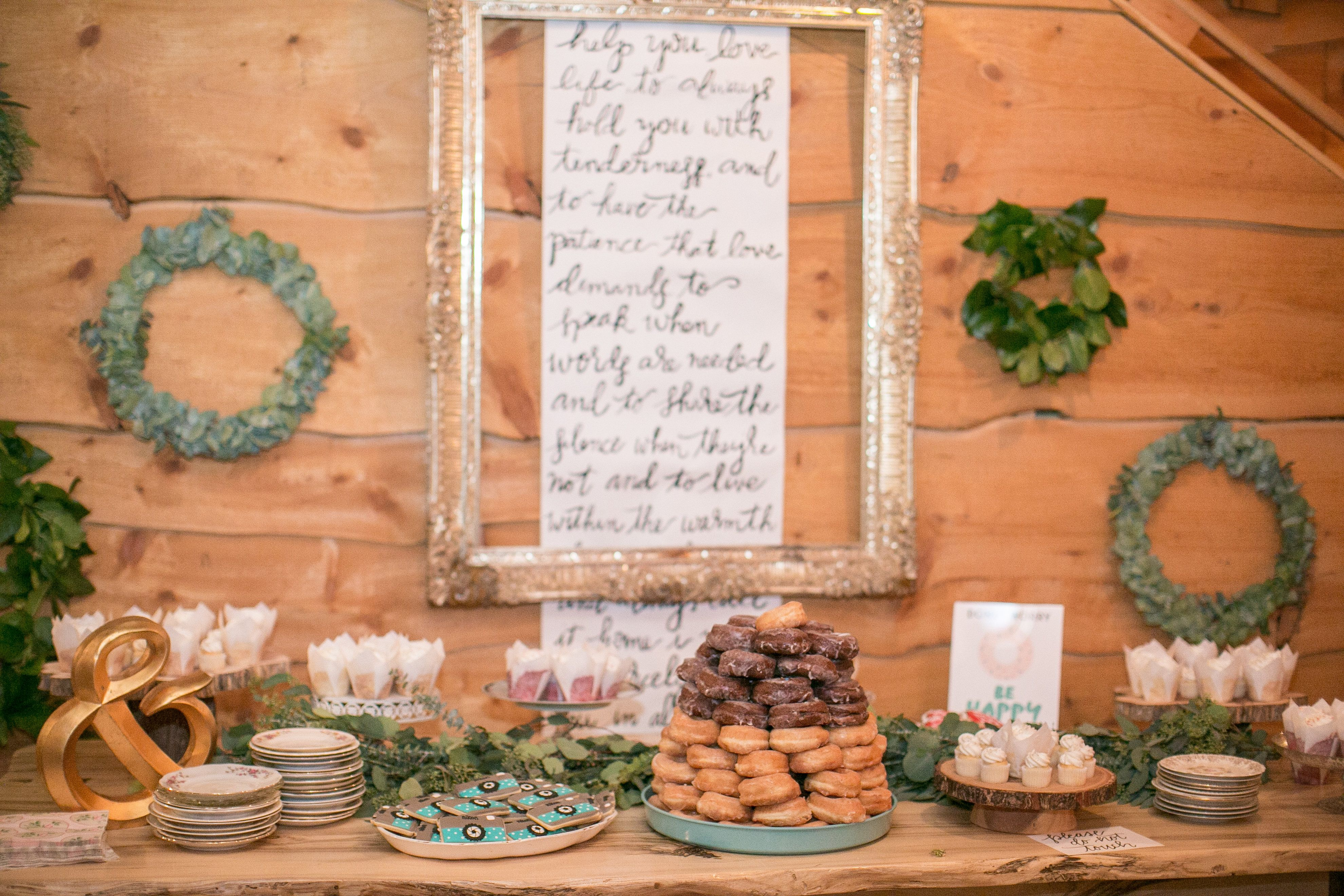 Barn wedding cake table ideas  custom hand lettered oversized scroll  wedding cake table scape