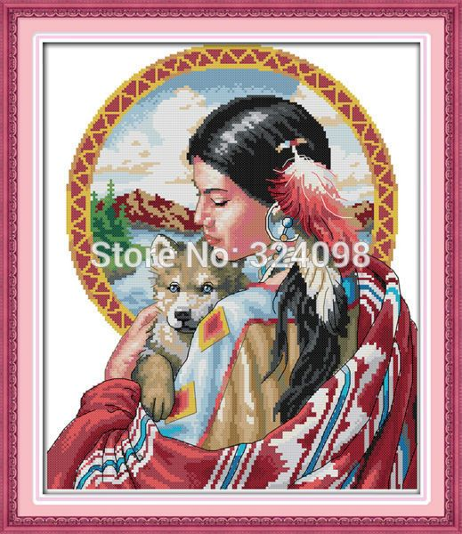 Wholesale Needlework,Stitch,14CT Cross Stitch,Sets For Embroidery Kits,Indian Girl Patterns Counted Cross-Stitching