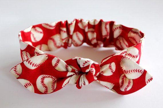 Baseball Baby Headband, baby girl headband, red,Cinci, baby accessories, knot headband, baby bows, baseball accessories, knotted headband
