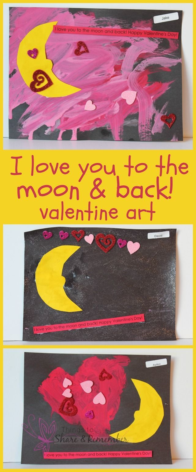 Love You to the Moon Preschool Valentine Art Preschool