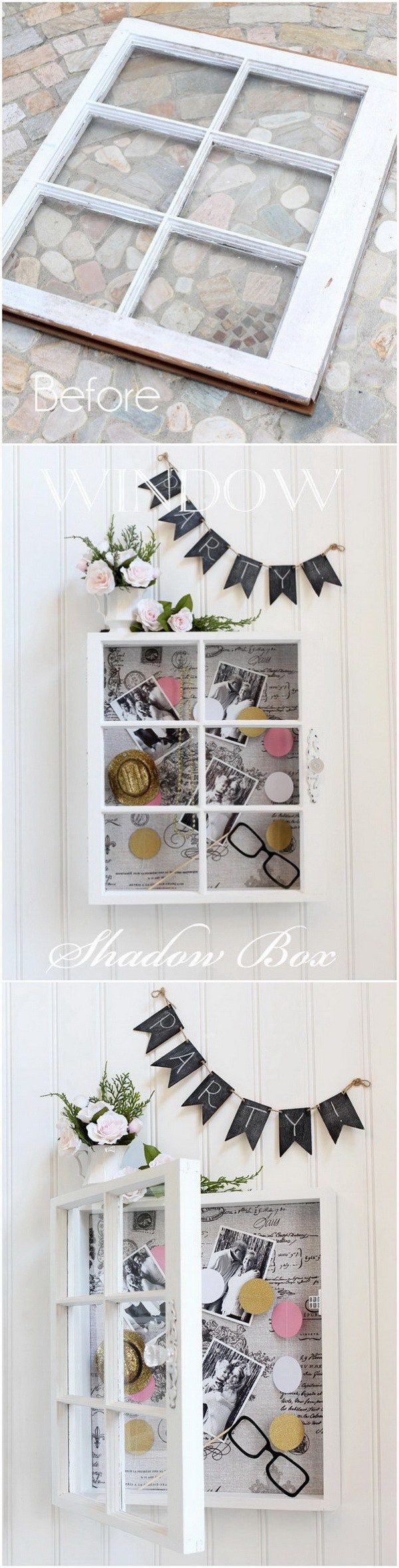Diy old window decor   creative projects with old windows  storage shelves shadow box