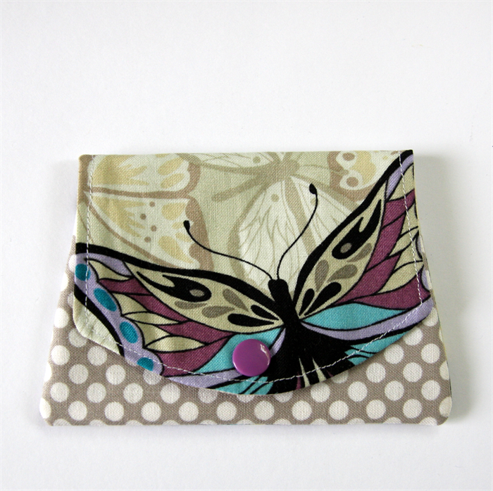 Butterfly Pink /& Grey Fabric Handmade Coin Purse