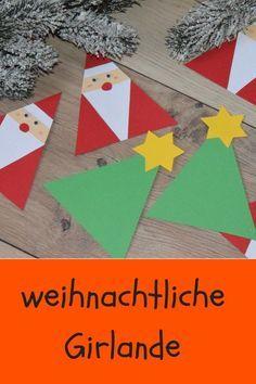 mit kindern für weihnachten basteln. eine süße Girlande mit Nikoläusen und Weinachtsbäumen #weihnachtsbastelnmitkindernunter3