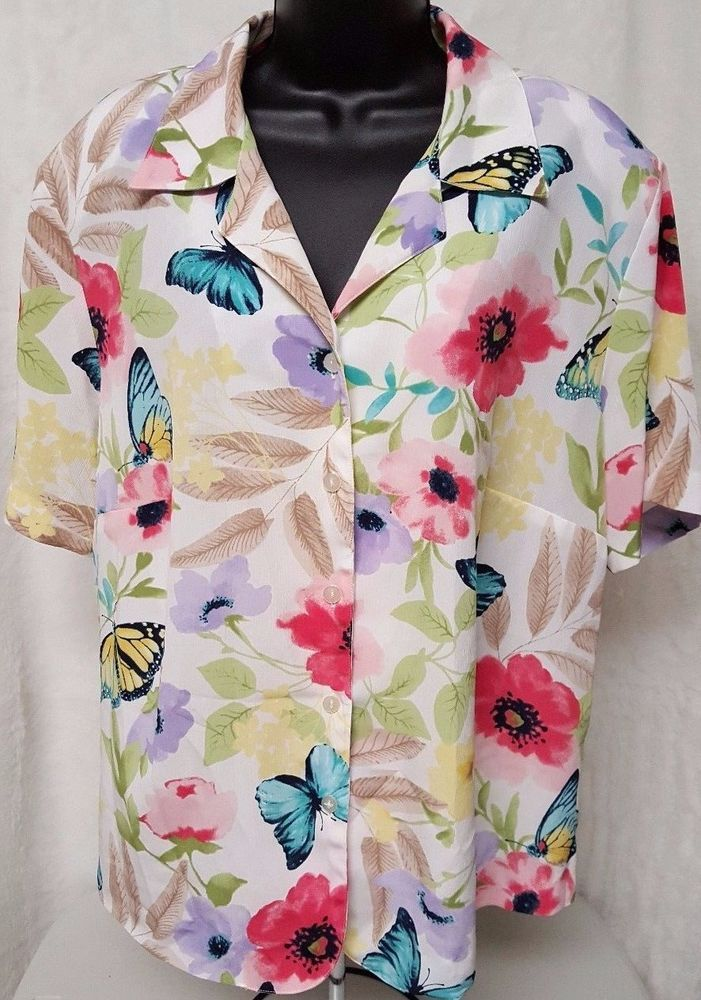 Alfred Dunner Woman's Plus Multi Color Floral/Butterfly Button Down Shirt Sz 16W #AlfredDunner #ButtonDownShirt #Casual