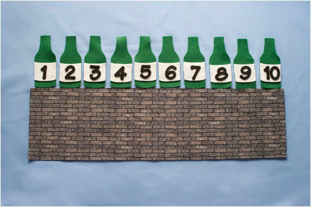 Ten Green Bottles Standing On The Wall Felt Board Patterns Felt Board Green Bottle