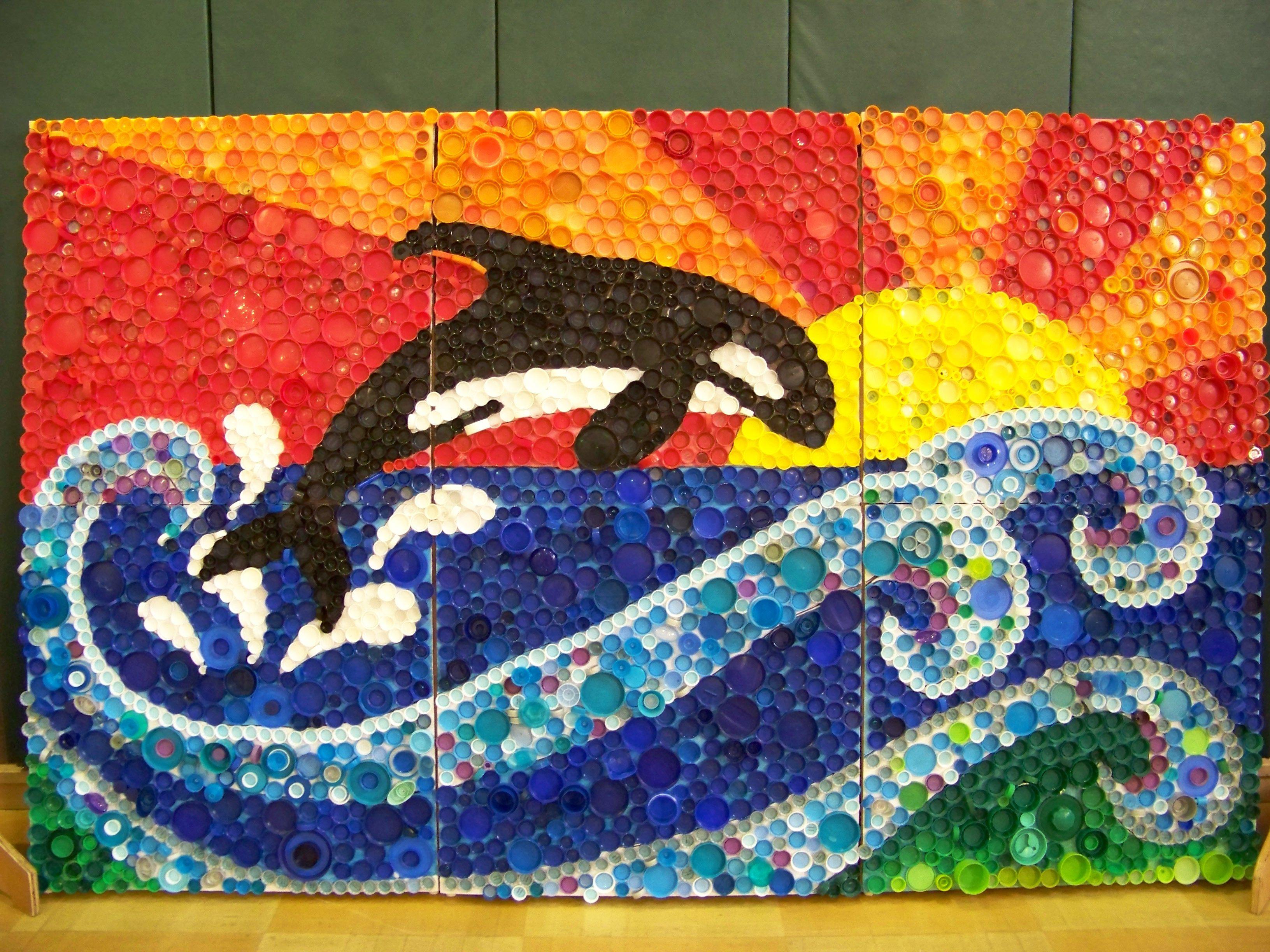 3rd grade group project bottle caps good for Eco art & stipple