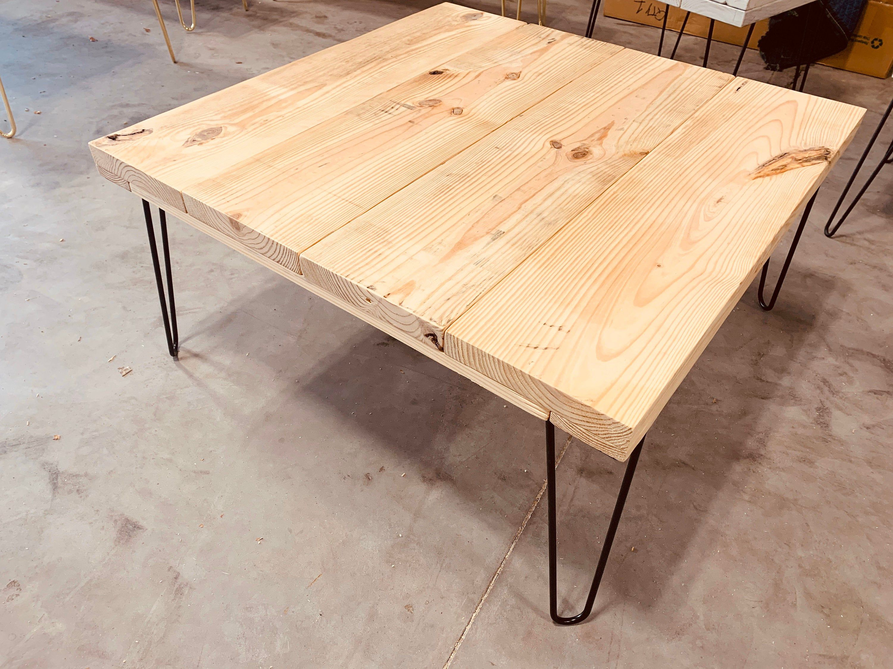 Industrial Large Square Coffee Table With Hairpin Legs Unfinished Diy Top Ready To Stain Or Paint Raw Wood Do It Yourself Living Room Large Square Coffee Table Coffee Table Coffee Table