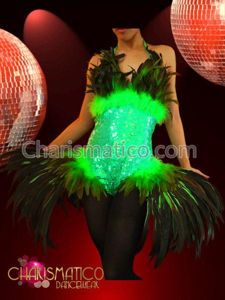 CUSTOM BLACK FEATHER LADY GAGA DRAG QUEEN DANCE DRESS