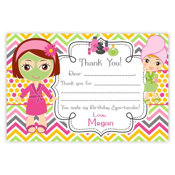 Spa Party Thank You Card  Pink Orange Chevron by PurpleBerryInk, $13.00
