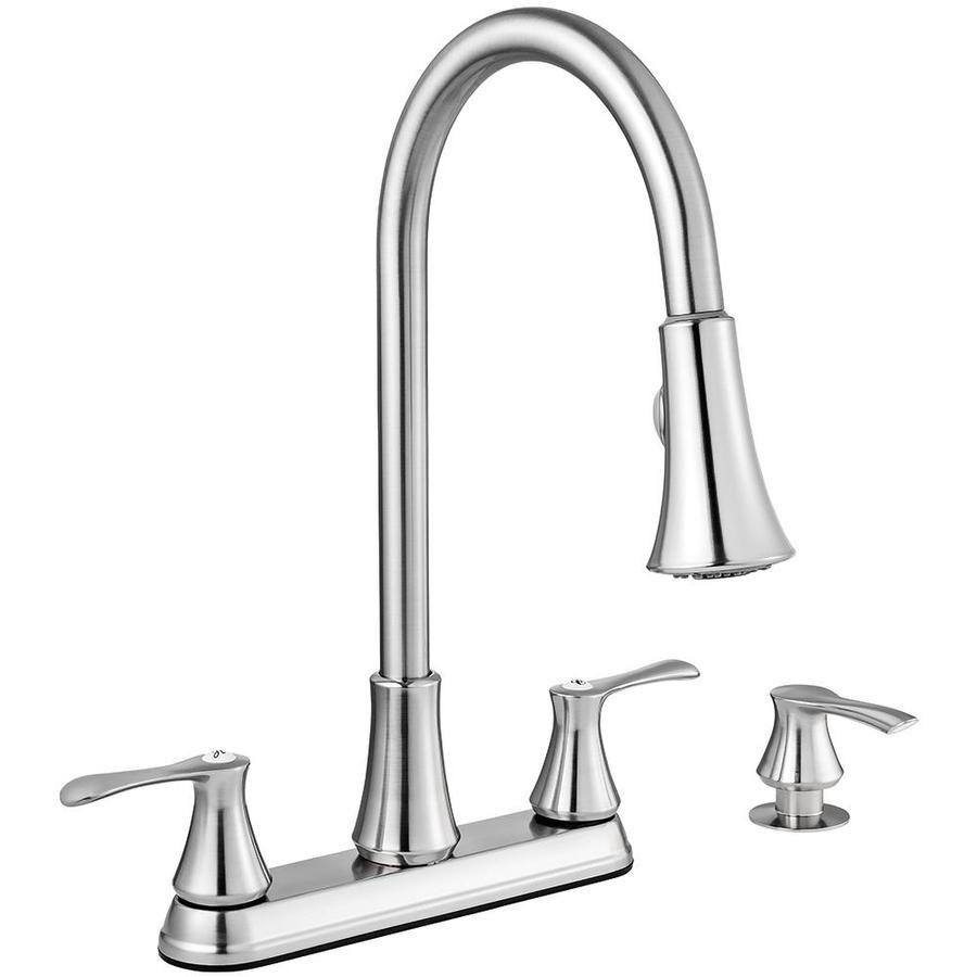 Project Source Stainless Steel 2 Handle Deck Mount Pull Down Handle Lever Commercial Residential Kitchen Faucet Lowes Com Kitchen Faucet Faucet Kitchen Handles